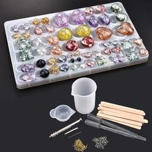 Making-Tools-Set Jewelry Casting Molds Crystal Round DIY Uv-Epoxy-Resin Heart Pendant