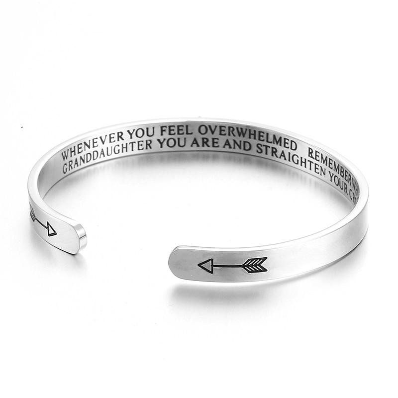 Custom Inspirational Letter Bracelet For Women Best Friends 3Color Stainless Steel Engrave Bangle Double Arrow Jewelry SKQIR