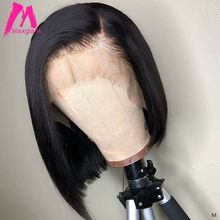 Lace Front Human Hair Bob Wigs Brazilian Straight Short Closure Wig Natural Long Pre Plucked Glueless Remy Hair for Black Women(China)