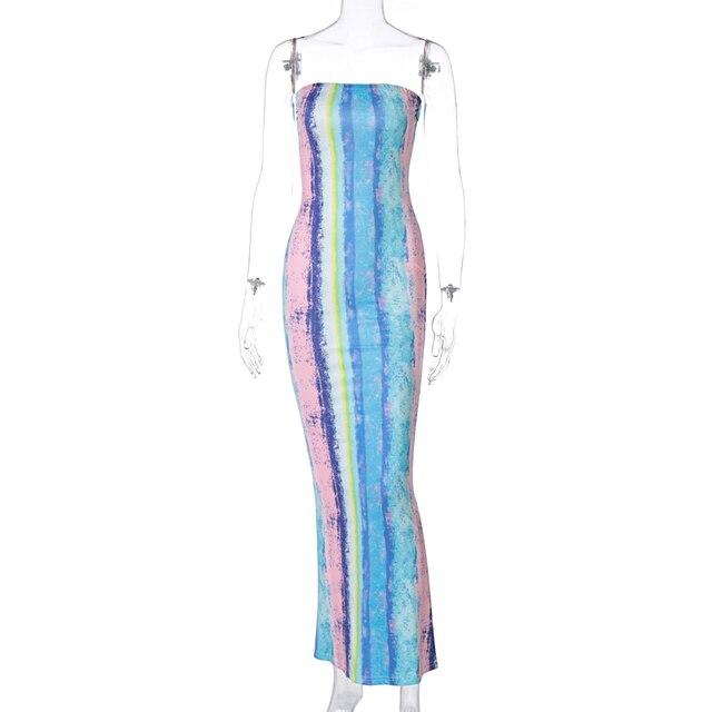 Hugcitar 2021 Sleeveless Slash Neck Tye Die Style Skinny Maxi Dress Spring Summer Women Fashion Sexy Streetwear Casual Outfits 6