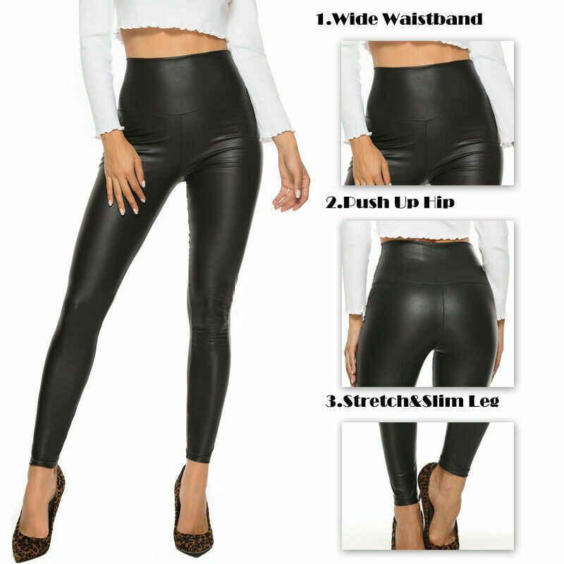 Sıcak satış kadınlar siyah streç suni deri yüksek bel pantolon kılıf tozluk bir boyut ucuz kadın giyim