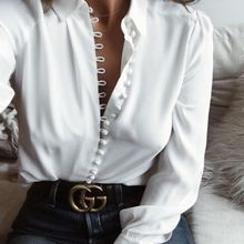 Stylish Womens Blouse Tops Female Elegant Long Sleeve White Blouse