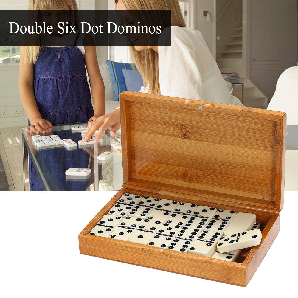 Duplo seis dominós conjunto entretenimento recreativo viagem blocos de jogo construção de madeira aprendizagem brinquedo educacional dot dominós