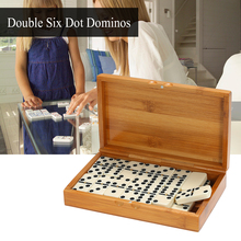 Double Six Dominoes Set Entertainment Recreational Travel Game Blocks Wooden Building Learning Educational Toy Dot Dominoes
