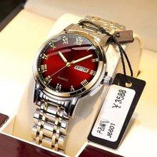 Часы наручные мужские из нержавеющей стали, Аутентичные Красные Супер модные деловые водонепроницаемые с календарем, A3487