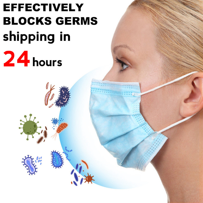 10pcs Anti-Dust Mask Dustproof Disposable Blue Earloop Face Mouth 3 Layers Facial Protective Cover Masks 24 Hours Fast Shipping
