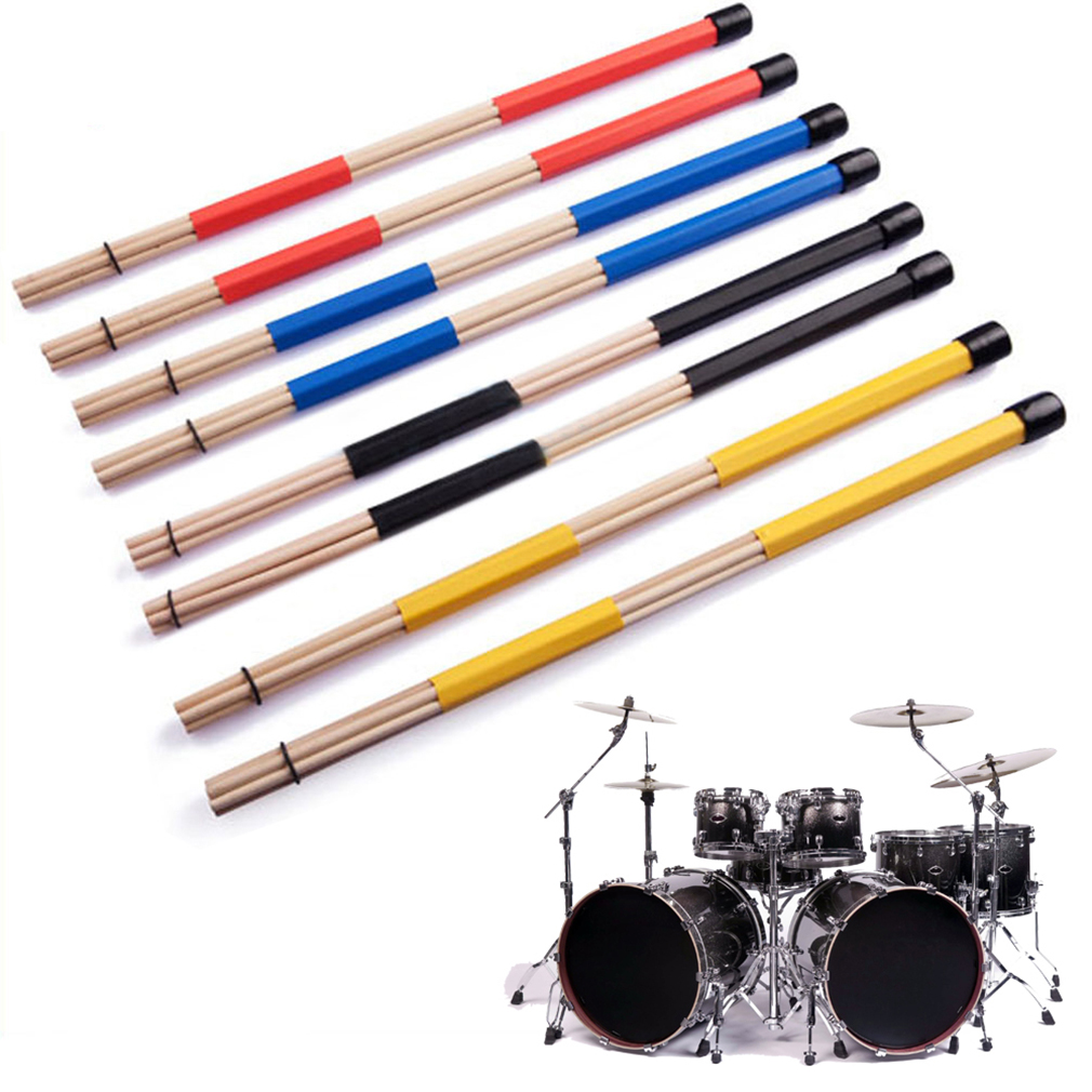 1 Pair Drum Sticks Professional Bamboo Country Jazz Ballad Percussion Drum Brushes Bundle Drum Sticks With Rubber Handle