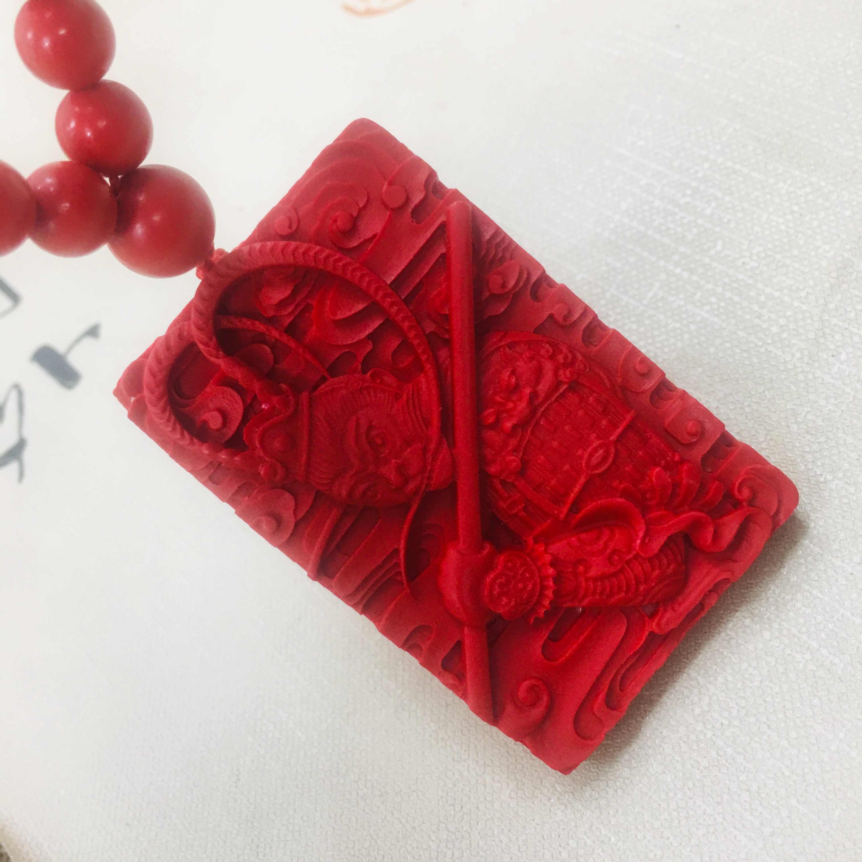 Zheru 天然朱色朱色と彫刻レッド両面孫悟空ペンダントビーズのネックレスの男性と女性のセーターチェーン