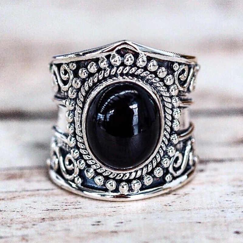 2020 Moonstone สีดำ ONYX Retro เครื่องประดับที่มีคุณภาพสูง VINTAGE เงินไทยหญิงแหวนสำหรับงานแต่งงานงานหมั้น
