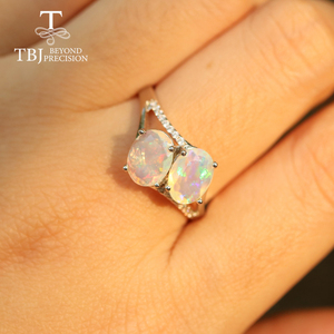 Image 4 - Opal Ring natural gemstone oval 6*8mm,solid 925 sterling silver simple design fine jewelry Christmas for women,wife nice gift