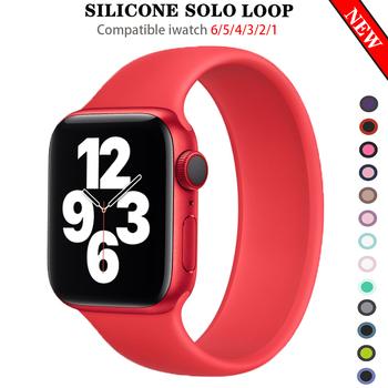 Pasek z pętlą Solo dla Apple Watch Band 44mm 40mm iWatch zespoły 38mm 42mm pasek silikonowa bransoletka od zegarków dla serii 6 5 4 3 2 SE tanie i dobre opinie LCAPLE CN (pochodzenie) Inne Nowy bez tagów for applewatch applle aple aplle i watch 5 4 3 2 1 44 42 40 38 mm stretchable wristband stretch wrist belt smartwatch Accessories