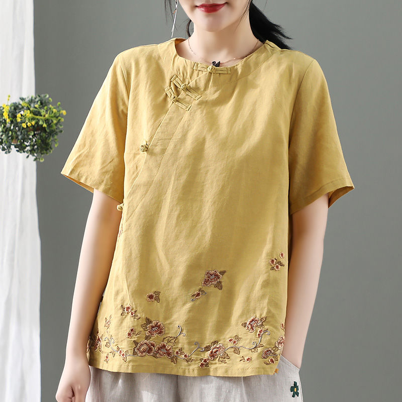 2020 New Arrival Summer Arts Style Women Short Sleeve Vintage T-shirt Cotton Linen Embroidery Floral Tee Shirt Femme Tops S961