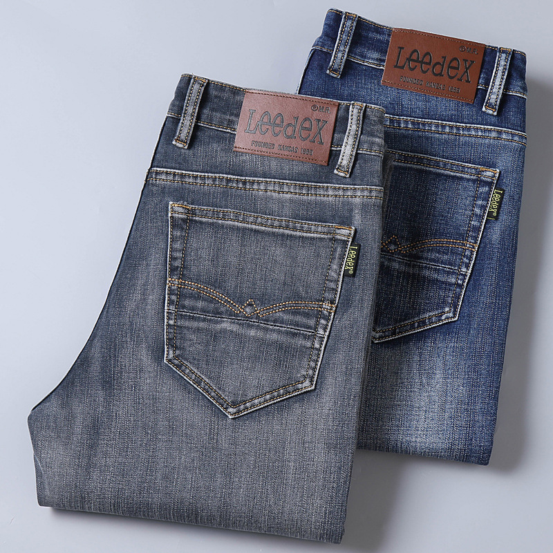 Lee Dex Jeans Men Autumn Elasticity Straight Slim Korean-style Loose-Fit Business Casual Jeans Thick-Fashion