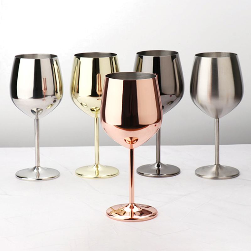 304 Stainless Steel Goblet Wine Glass Juice Drink Goblet Shatterproof Party Barware Large-Capacity Goblet Bar Accessories