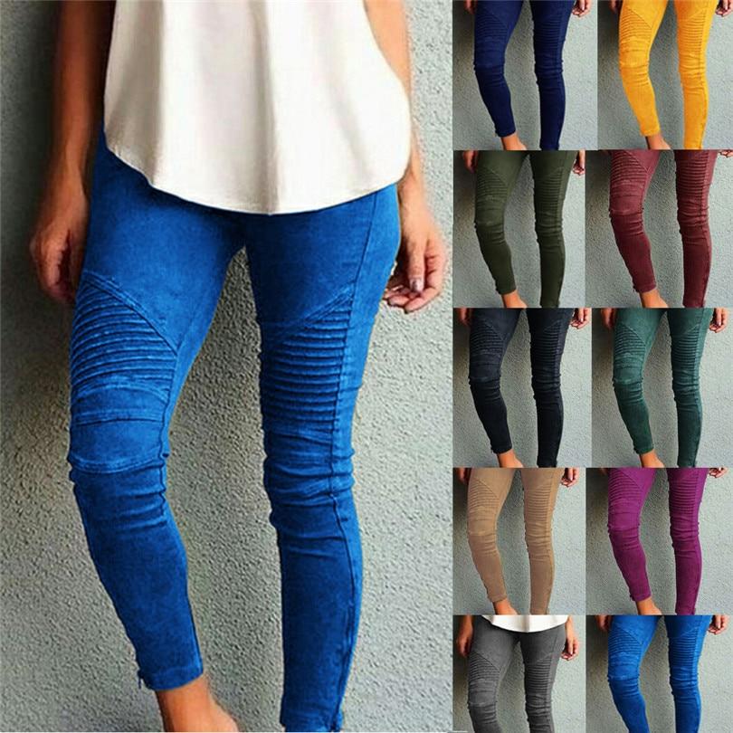 VISNXGI Spring Winter Faux Suede Leggings Fold High Waist Retro Elastic Stretchy Slim Women Pencil Pants Plus Size Sports Pants