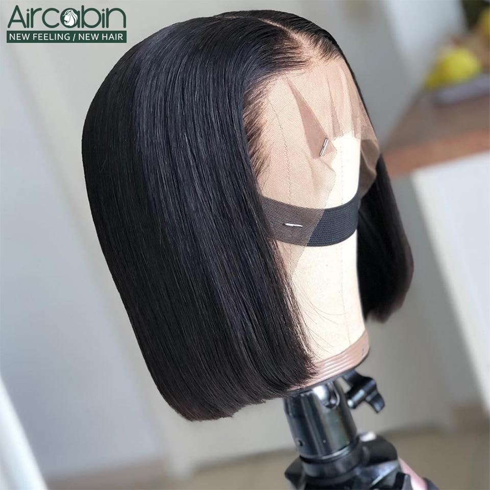 Glueless 13x4 Lace Closure Wig Brazilian Hair Bob Wigs Aircabin8-16inch Human Hair For Black Women Non-Remy Hair Pre-Plucked Wig