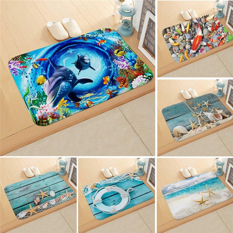 Sea Scenery Doormat Whale Turtle Pattern Fleece Anti-slip Bathroom Hallway Outdoor Floor Mats Home Decor Rectangle Carpet Rug