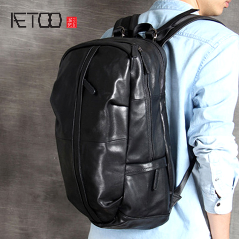 AETOO Large-capacity head cowhide shoulder bag leather men's and women's travel bag handmade classic hundred mountaineering bag