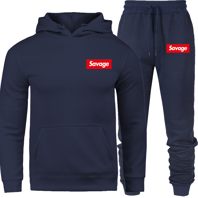 2019 New Brand Mens Set Tracksuit Hoodies Suit Fashion Streetwear Hoodie Sweatshirts SAVAGE Prints Sportwear Clothing Hip Hop