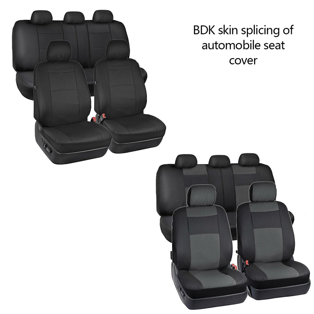 4pcs/set Synthetic Pu Leather Fit For Low Bucket Seats With Separate Headrests Seat Covers For Car Suv Auto Steering Wheel Cover