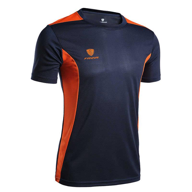 FANNAI męska koszulka sportowa do biegania szybkoschnąca koszulka z krótkim rękawem do koszykówki trening piłkarski Fitness koszulka CrossFit Gym Boy