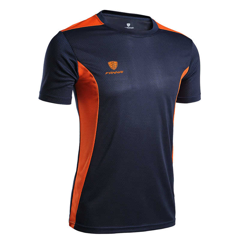 Fannai esporte dos homens correndo t camisa de secagem rápida manga curta basquete treinamento futebol fitness crossfit ginásio menino topo t