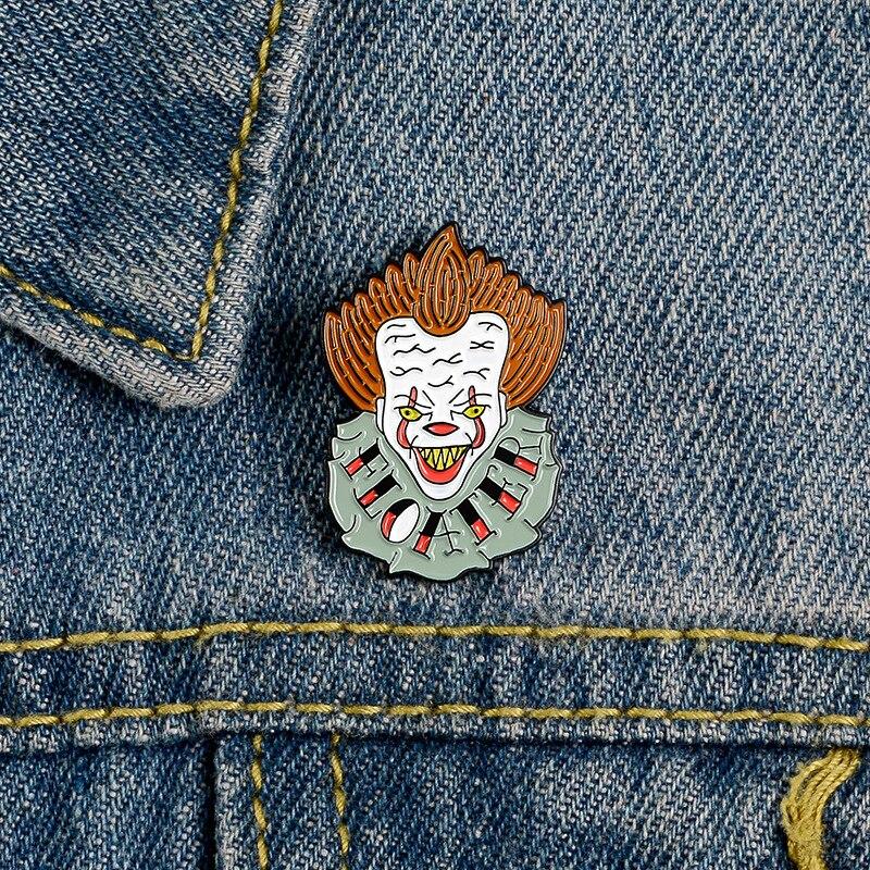Anime Pins Joker Enamel Pin Brooches Shirt Lapel Bag Badge Halloween Steampunk Movie Cosplay Costume Jewelry Man Christmas Gifts