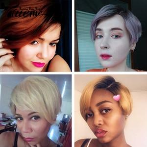 Image 2 - Trueme perruque coupe Pixie, coiffure sur dentelle avec partie courbée, court, couleur Ombre 613, blond, violet, rouge, 100% cheveux humains, brésilien