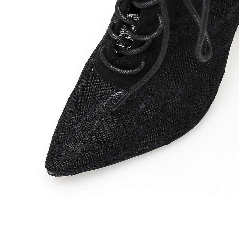 2020 dantel moda pompa şeffaf ağ streç kumaş çorap Boot ince topuklu sivri burun ayak bileği kadın çizme siyah