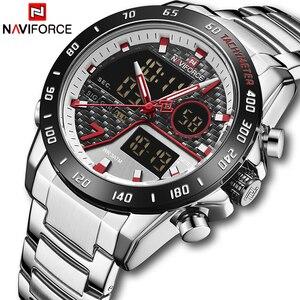 Мужские часы NAVIFORCE, топовые брендовые Роскошные полностью Стальные кварцевые часы, мужские большие военные спортивные наручные часы, анало...