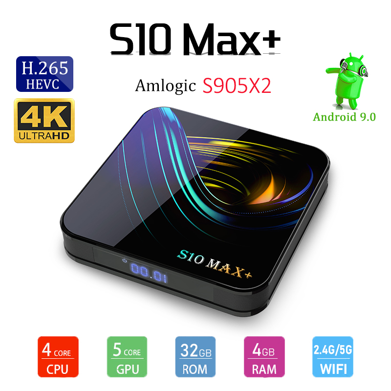 S10 Max + Android 9.0 Amlogic S905X2 Tv Box 4G RAM 32G ROM LAN 10/100M 2.4G/5G WIFI Bluetooth 4.2 Support voix télécommande Tv Box