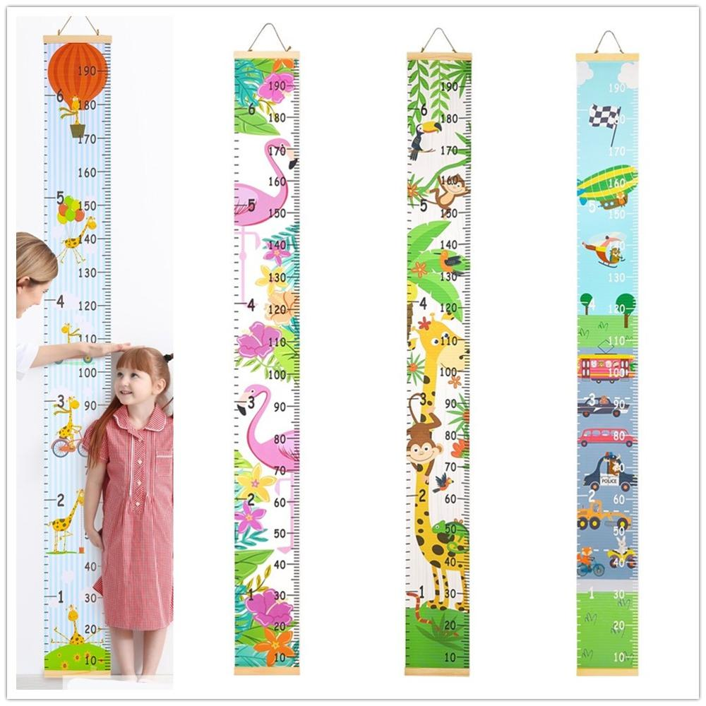 Regla de altura de madera para niños, regla de medida de altura con patrón de dibujos animados para colgar en la pared, tabla de crecimiento para niños, Adhesivo de pared de casa