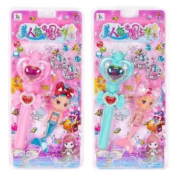 Mermaid Magic Wand Toy Set Light Up LED Music Fashion Toy for Children Gifts mermaid magic