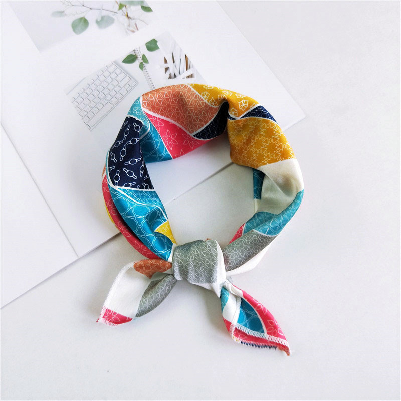 Square Scarf Soft Hair Tie Band Decorative Multifunctional Head Scarf Multicolor Stripe Dot Print Kerchief Neck Scarves