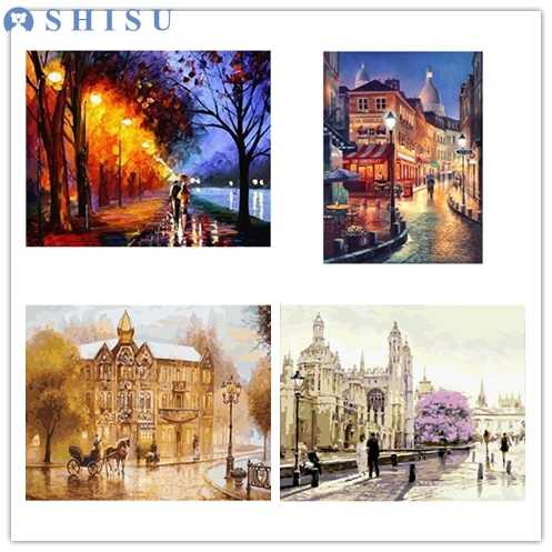 New Kid DIY Pari lovers Street Landscape Oil Acrylic Painting By Numbers on Canvas Framed Wall Pictures Art for Home Decoration