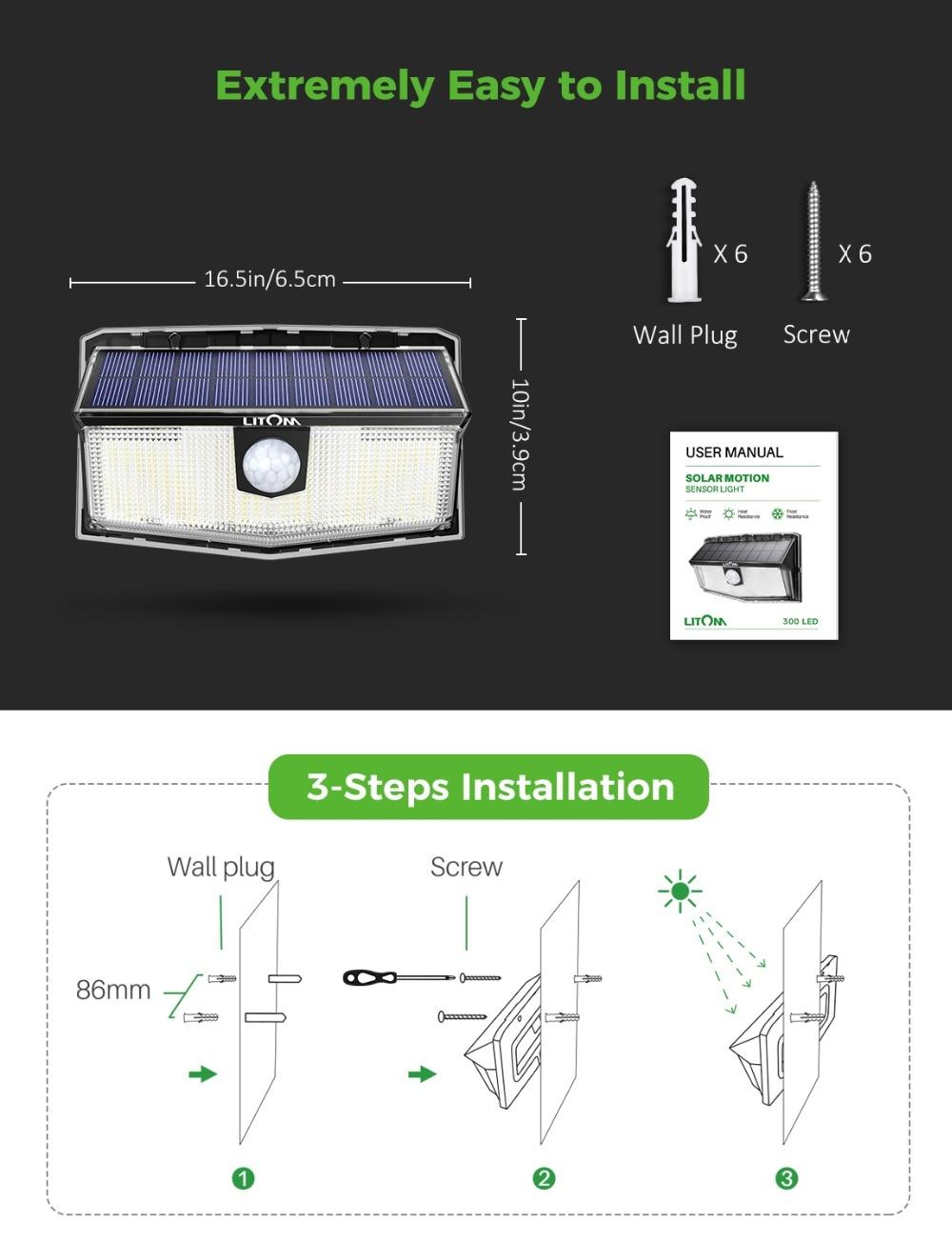 2 Pack LITOM 300 LED Solar Lights Garden Upgraded PIR Motion Sensor Lights IP67 Waterproof 3 Intelligent Modes Solar Wall Lights (5)