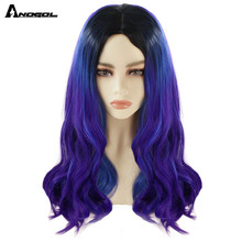Cosplay Wig ANOGOL Wave-Purpul Middle-Part Dark-Roots Blue Natural Long Synthetic Ombre