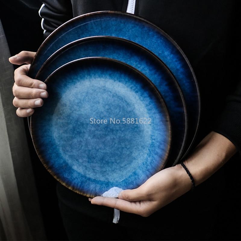 Ceramic Western Style Blue Round Flat Tray Food Steak Dinner Plate Tableware