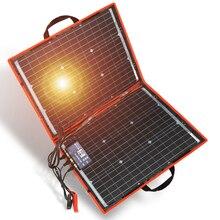 18 فولت 80 واط مونوكريستال طقم شمسي قابل للطي مع وحدة تحكم تهمة 12 فولت للمنزل/التخييم/RV لوح شمسي جهدي ضوئي الصين
