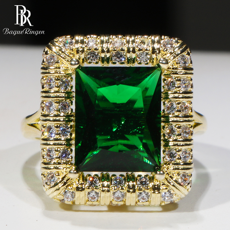 Bague Ringen classic 925 Sterling Silver Rings For Women square Emerald Big Gemstones Wedding Party Wholesale Gift Size 6-10