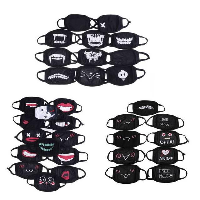 1 шт. черная мультяшная аниме Kpop маска для рта половина лица мягкие противотуманные противопылевые маски хлопковая Пылезащитная маска для лица для женщин и мужчин