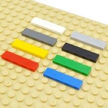 DIY yapı taşları şekil tuğla seramik karo 1x4 eğitim yaratıcı boyutu MOC tuğla pürüzsüz düz fayans oyuncaklar çocuk