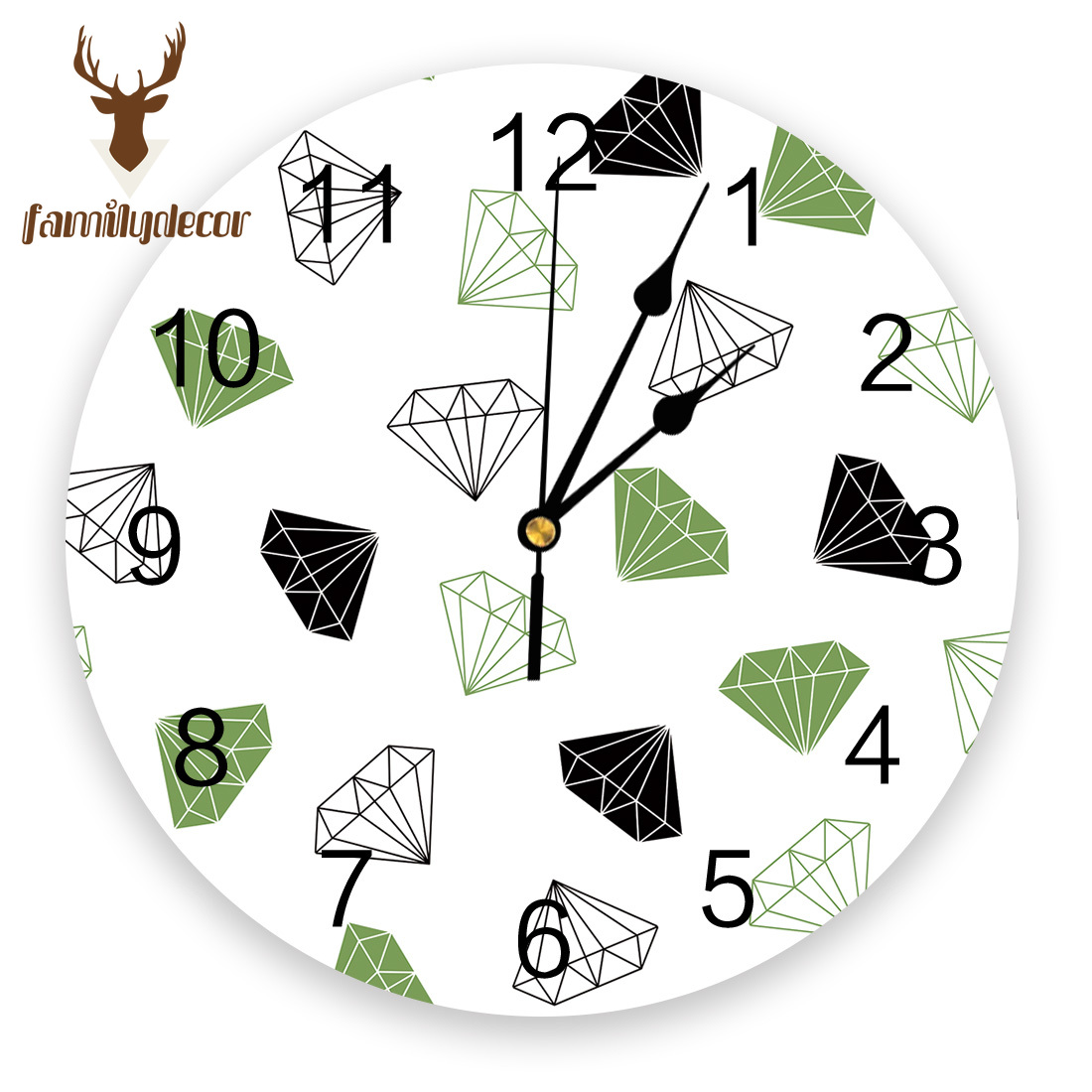 Abstract Geometric Diamond Printed PVC Wall Clock Modern Design Home Decor Bedroom Silent Oclock Watch Wall For Living Room