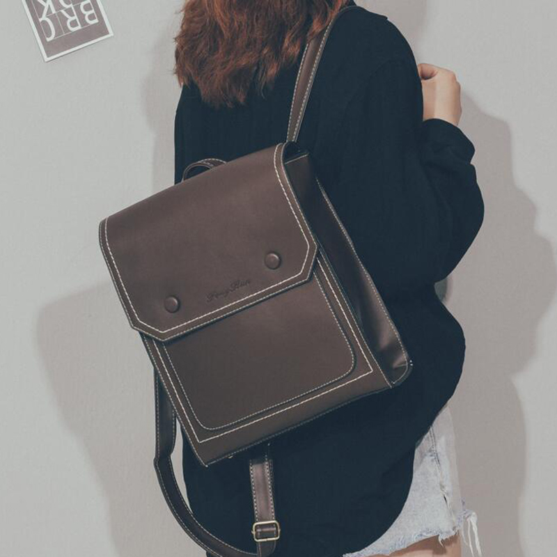 Vintage Backpack Female Fashion PU Leather Women's Backpack Brown Large Capacity School Bag For Girls Shoulder Bags For Teengers