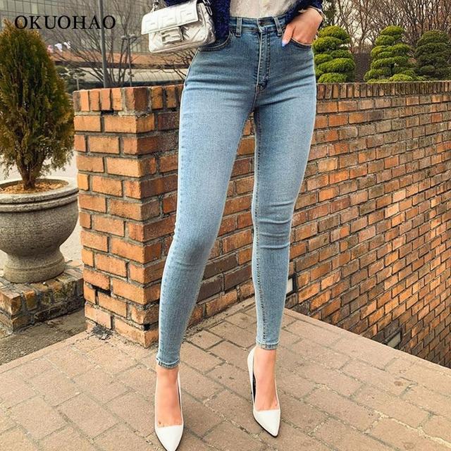 Women's Jeans High Waist Stretch Skinny Denim Trousers 2021 Blue Retro Washed Fashion Sexy Elastic Slim Pencil Pants Oversize 4