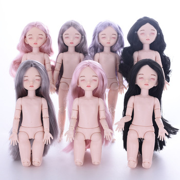1/6 Doll BJD 28CM Sleep Doll 22 Joint Movable Without Makeup Nude Baby Purple Gray Rose Gold Hair DIY Girl Self Makeup Gift Toy yativavi 1 6 bjd factory doll 22 joint body special offer low price diy modified makeup girl gift naked doll 30 cm shoes clothes