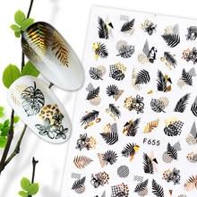 1pc verão brilho decalques do prego adesivos de ouro preto folha branca manicure folhas geométrica slider arte do prego adesivo decoração