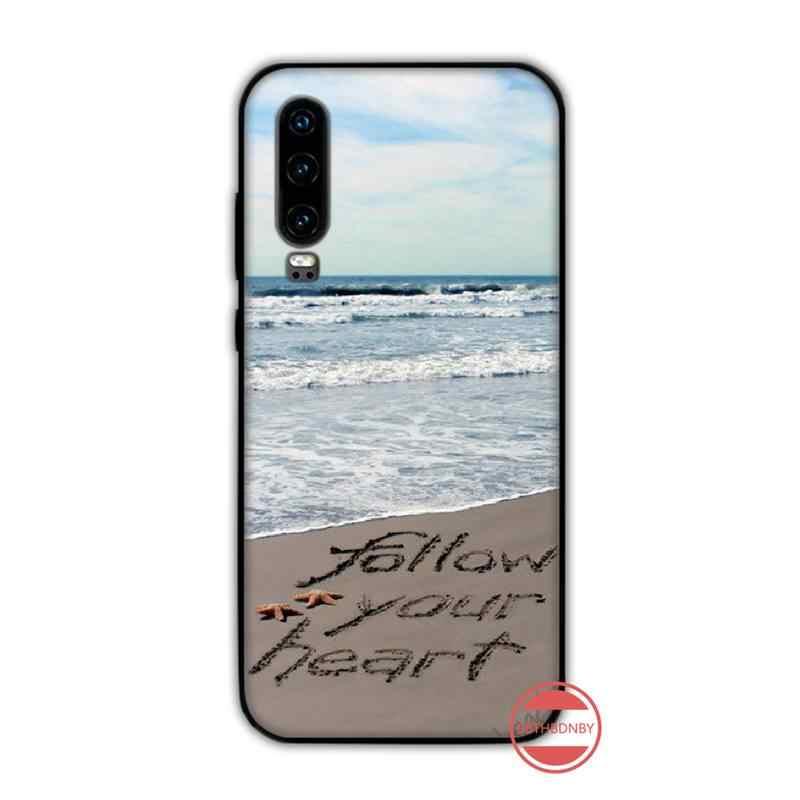 ビーチ夏海ヤシの木の tpu 電話ケースカバー船体 funda huawei 社 P9 P10 P20 P30 lite 2016 2017 2019 プラスプロ 1080p スマート