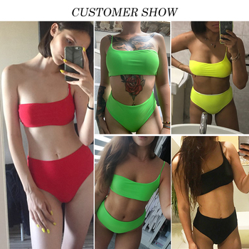 In-X High waist bikinis 2019 mujer Neon swimsuit female one shoulder swimwear women Bandeau top Sexy green bathing suit bathers 1