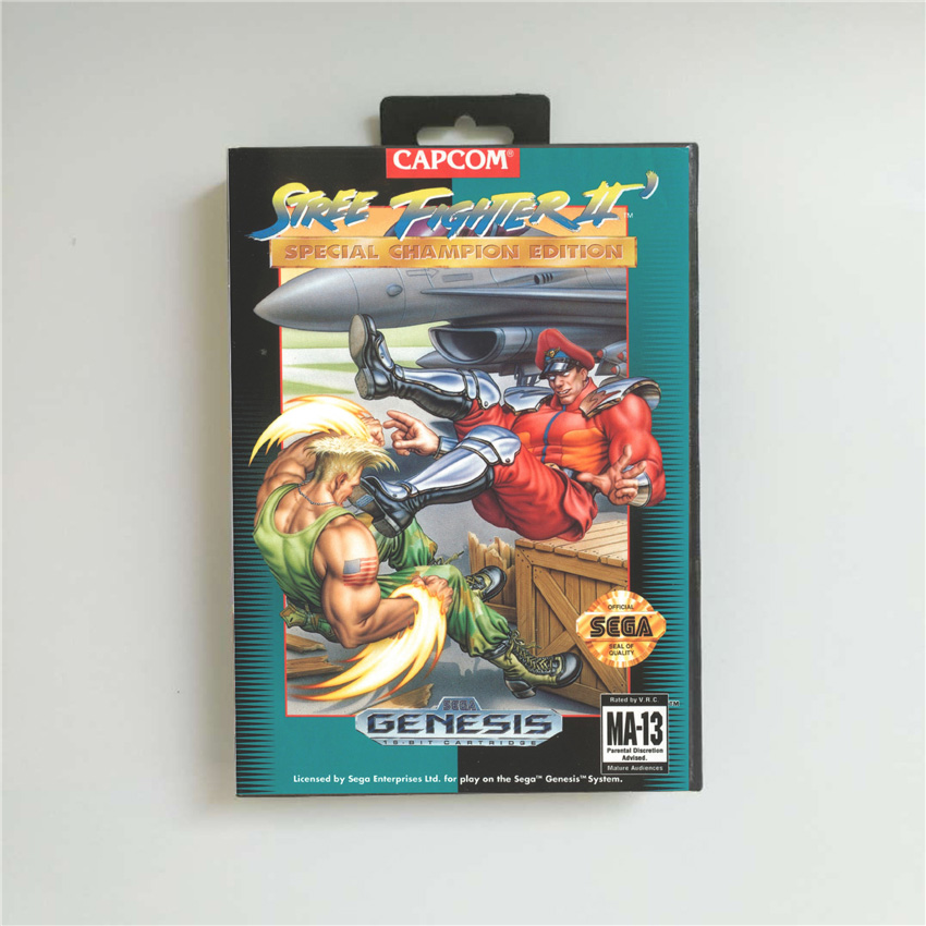 Street Game Fighter II 2 Special Champion Edition - USA Cover With Retail Box 16 Bit MD Game Card For Sega Megadrive Genesis